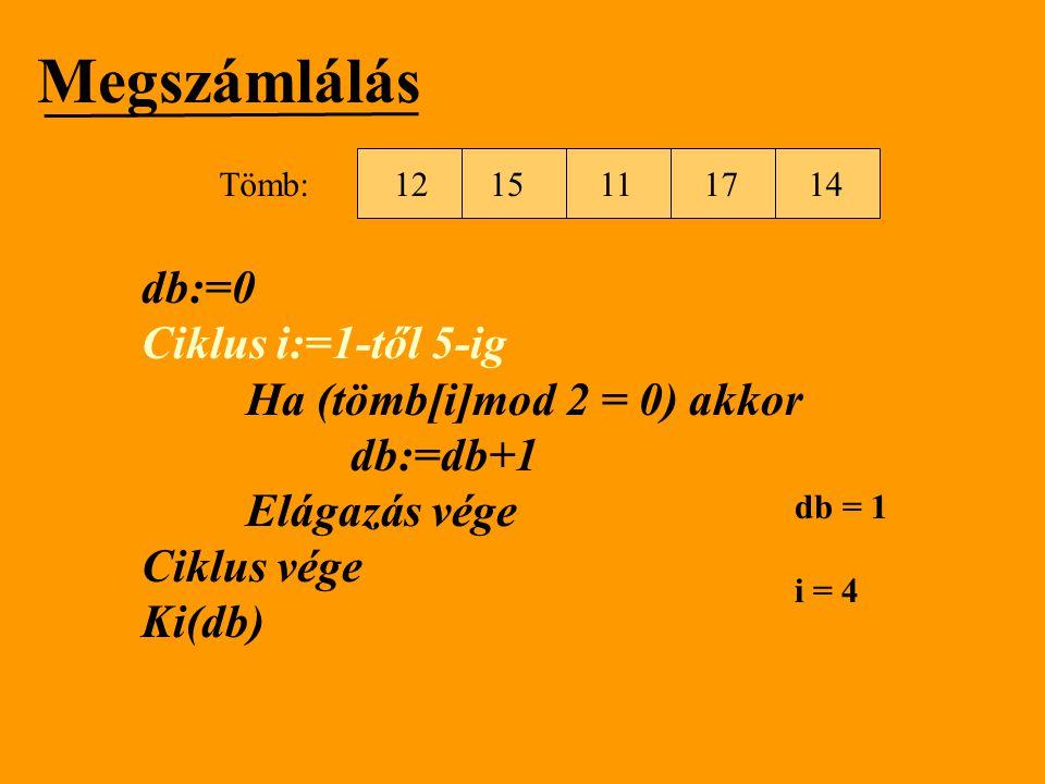 Megszámlálás db:=0 Ciklus i:=1-től 5-ig Ha (tömb[i]mod 2 = 0) akkor